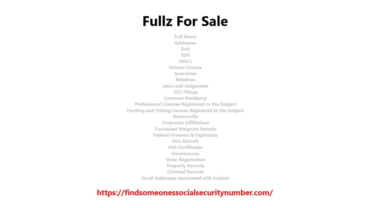 Fullz For Sale