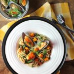 New Zealand Mussels with Quinoa Spaghetti and Roasted Squash