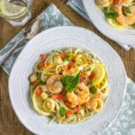 Seafood Pasta with Spinach-Basil Pesto