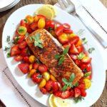 Sweet Hot Coriander Salmon with Strawberry Tomato Salad