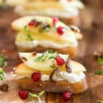 Honey Crisp Apple Crostini with Whipped Goat Cheese and Candied Pecans