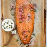 Roast Salmon with Pomegranate Glaze