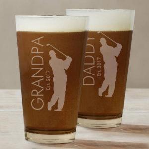 personalized golf pint glass