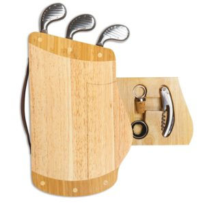 golf bag cutting board and cheese wine tools