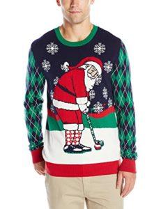 funny golf gifts, golf ugly christmas sweater, santa golfing
