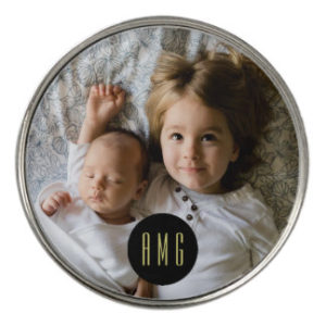 personalized photo monogram golf ball marker
