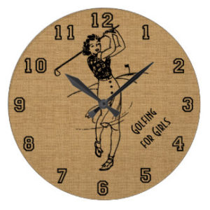 vintage woman golfer wall clock