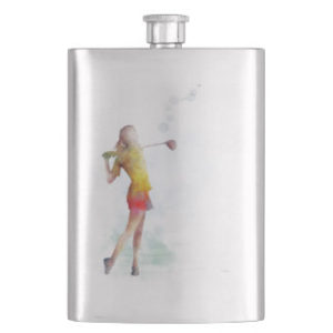 woman golfer flask