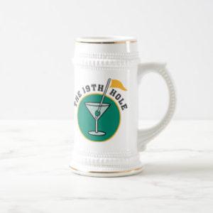 19th hole golf stein, golfer drinking gift, golf beer stein