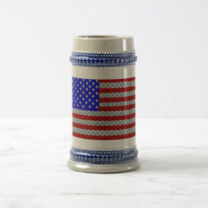 golf ball american flag beer stein, drinking gifts for golfers, golf beer stein