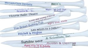 golf tournament gifts, golf goodie bag gifts, custom printed golf tees