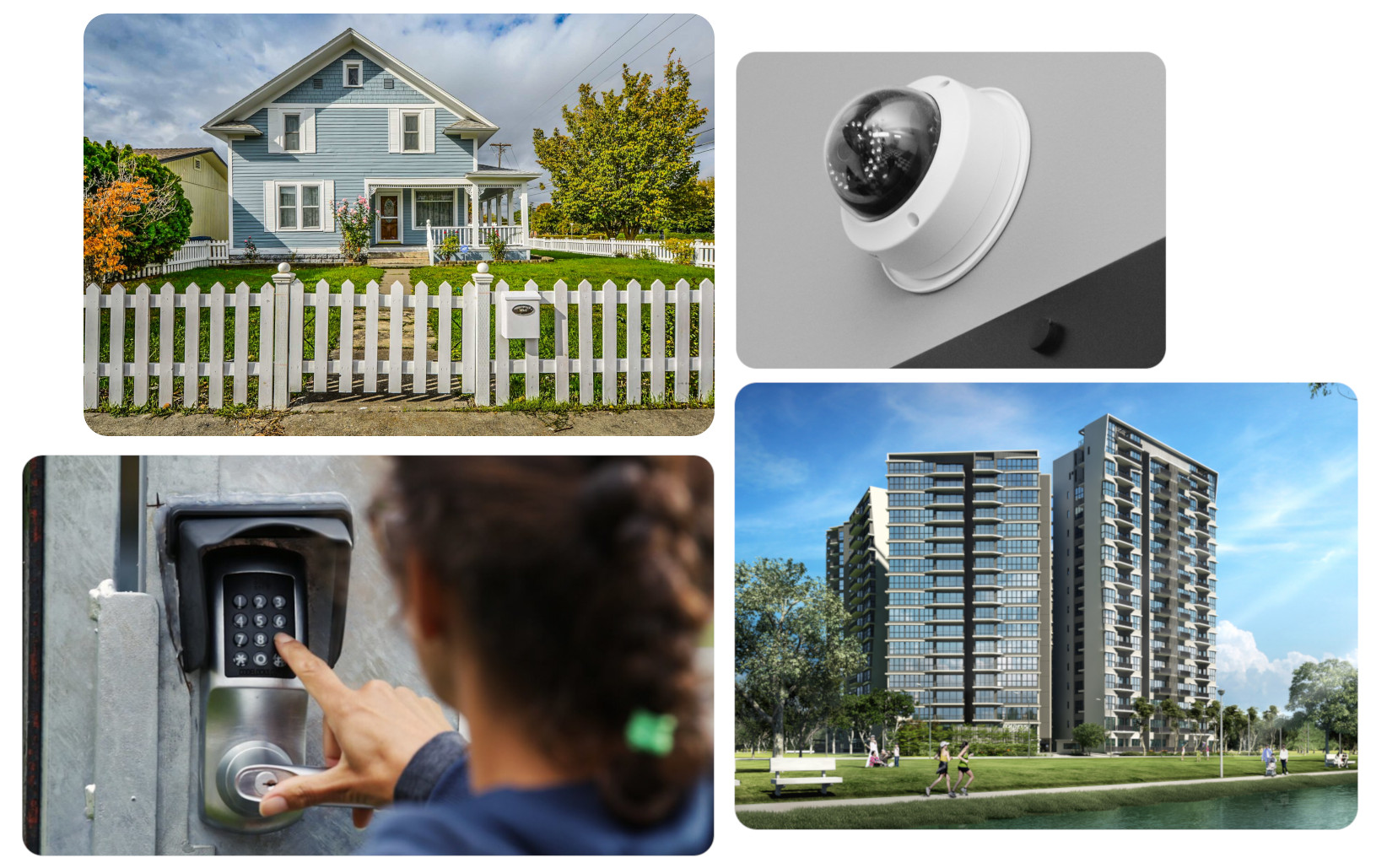 Collage of images - security camera, door entry access, residential and high rise building.