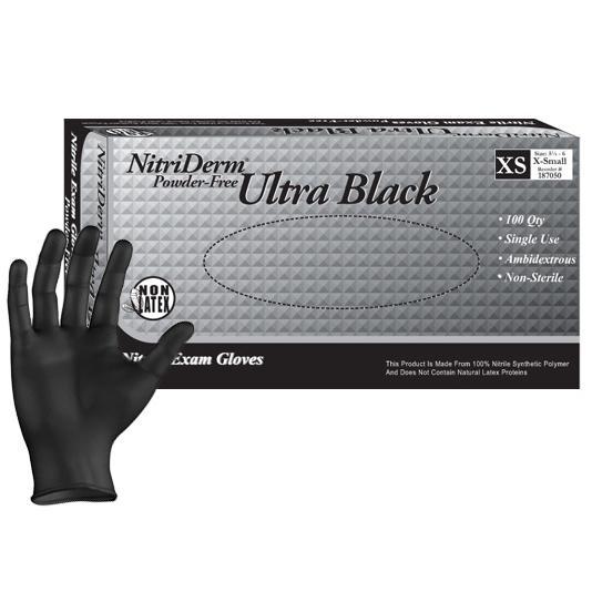 nitrile gloves in black