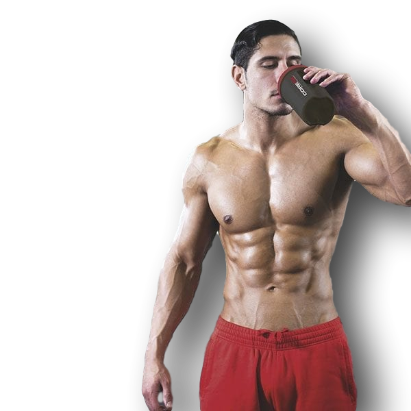 athlete with shaker cup