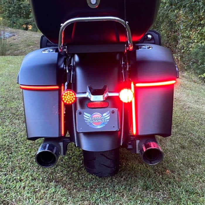Tailend of motorcycle featuring Custom Dynamics lighting