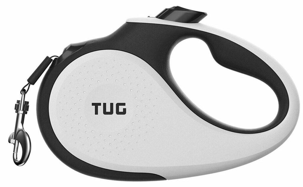 TUG Patented 360° Tangle-Free, Heavy Duty Retractable Dog Leash for Up to 55 lb Dogs; 16 ft Strong Nylon Tape/Ribbon; One-Handed Brake, Pause, Lock dogspeaking.com