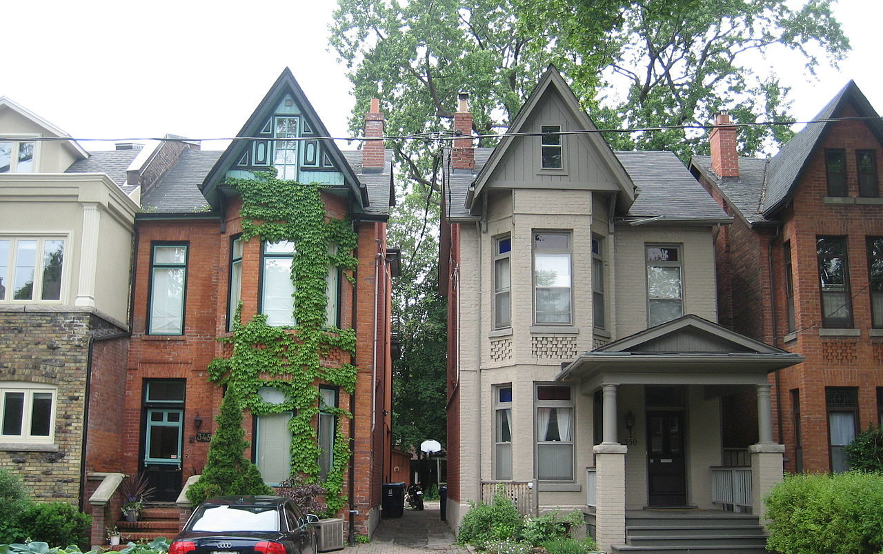 Victorian homes in the Annex of Toronto with fireplace chimneys