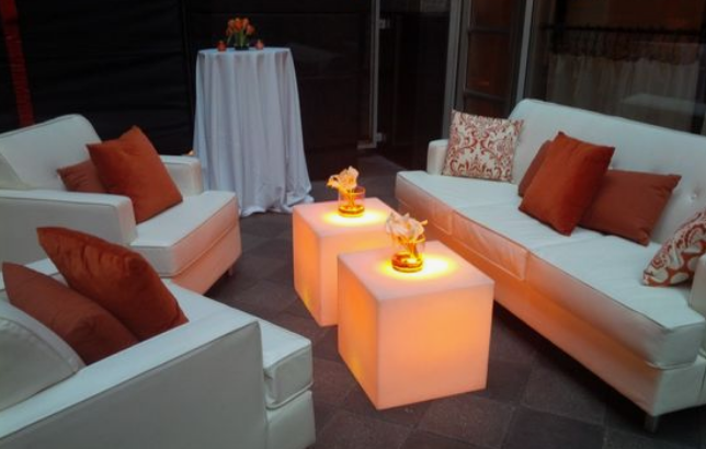 LED coffee tables and all white seating area
