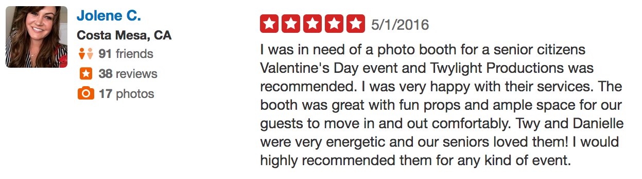 Jolene TLP Review of Photo booth