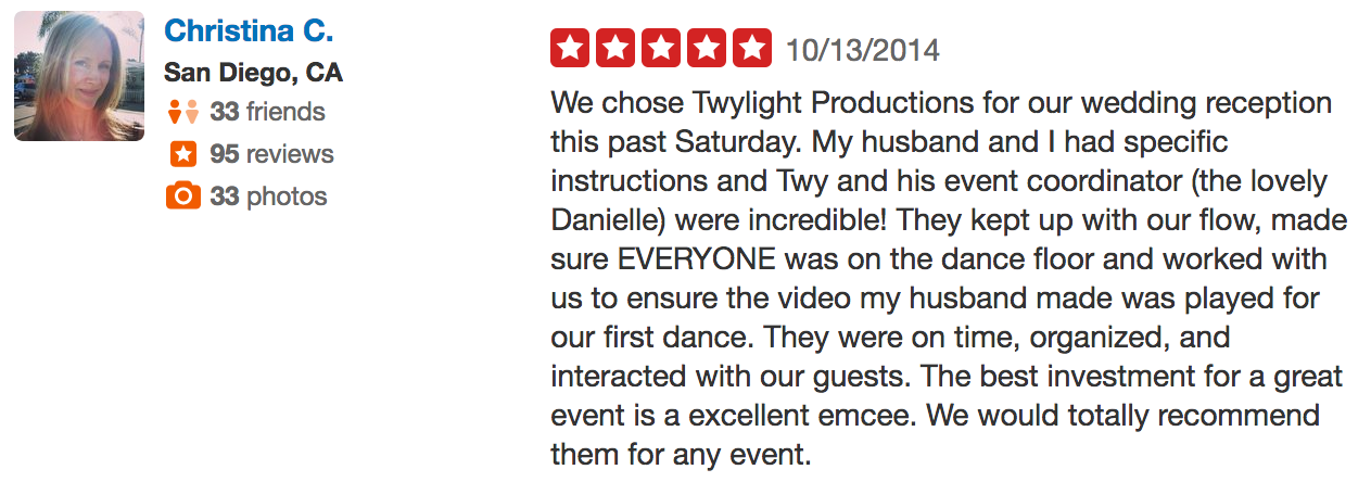 Christina review of wedding dj