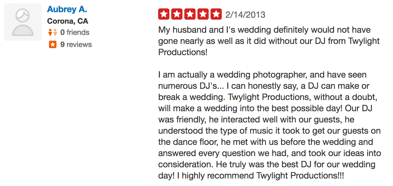 Aubrey wedding dj review