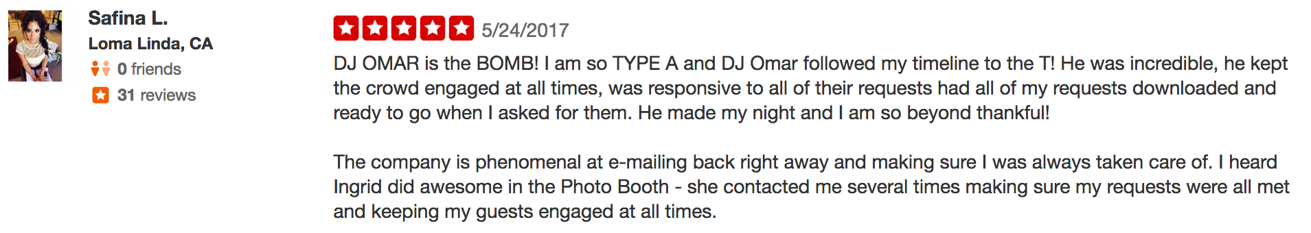 Safina dj and photo booth review
