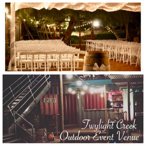 a wedding seating area and a bar with lighting