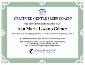 Certificado Gentle Sleep Coach