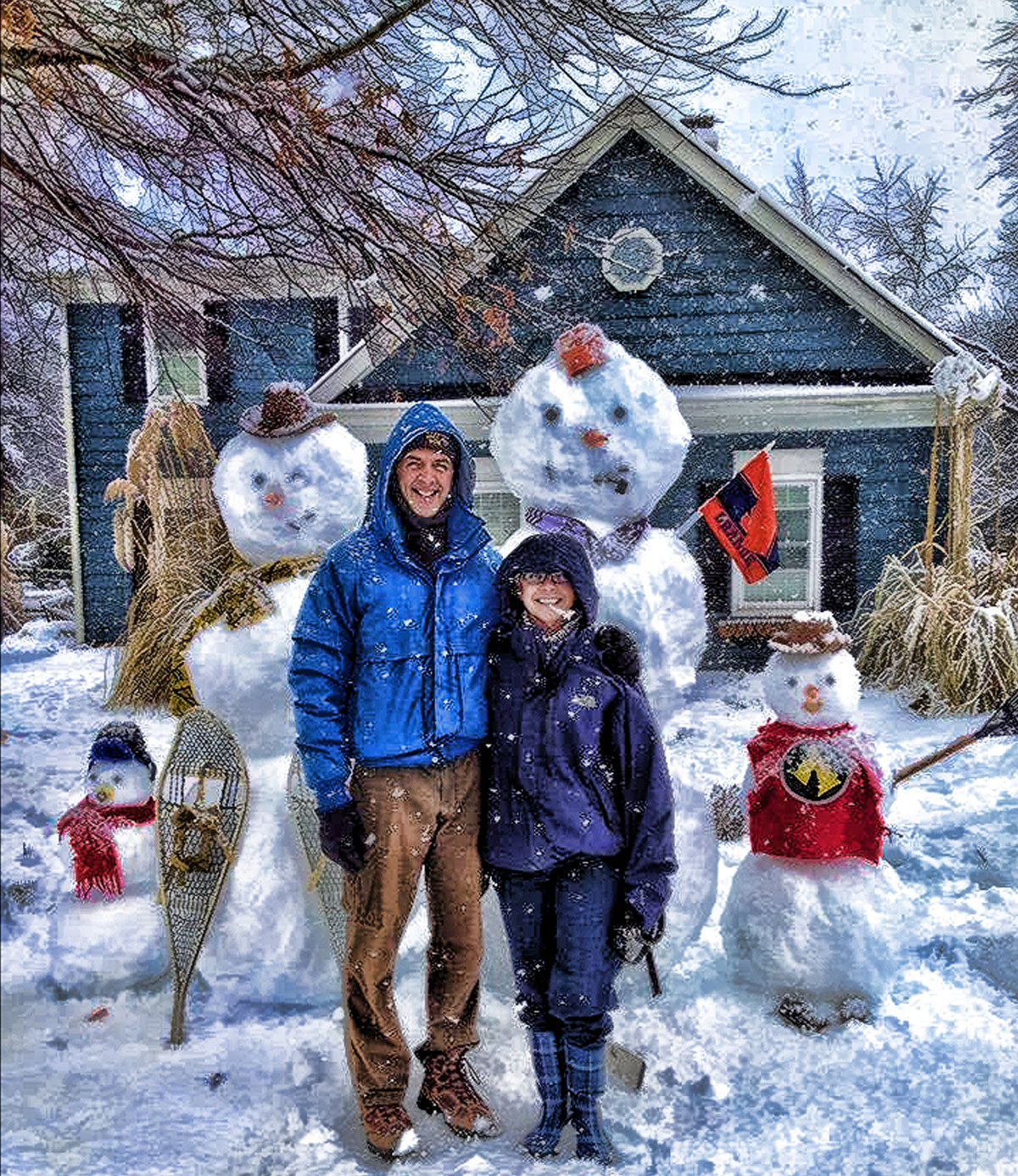 artistic photo - family with snowmen