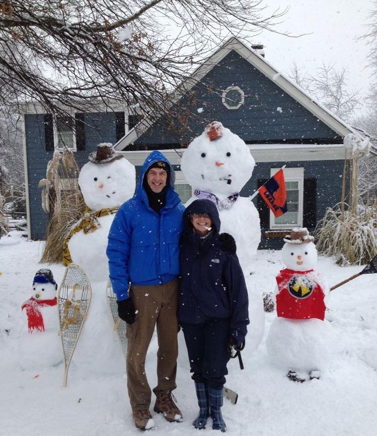 artistic photo with snowmen