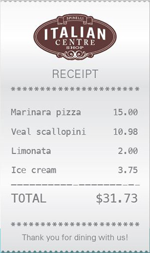 City Palate, guide to the good life in Calgary - feature 2018-01-02 Italian Centre: Spinelli Bar Italia receipt