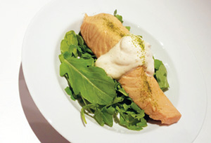 City Palate, guide to the good life in Calgary - quick ways with 2018-01-02 Chamomile, Hibiscus Poached Salmon, with Savoury Whipped Cream and Matcha Salt