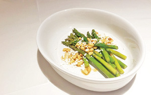 City Palate, guide to the good life in Calgary - quick way with 2018-03-04 Asparagus in Truffle Butter, with Pine Nuts and Chèvre