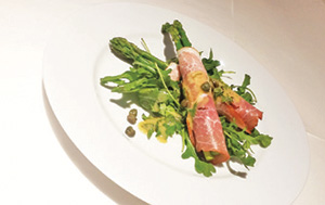 City Palate, guide to the good life in Calgary - quick way with 2018-03-04 Westphalian Ham and Asparagus Rolls on a Bed of Arugula with Apple Dill Dressing and Capers