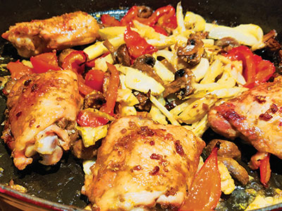 City Palate, guide to the good life in Calgary - quick ways with 2018-03-04 Lemon fennel chicken with peppers and mushrooms