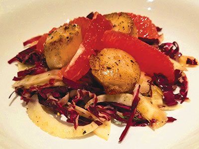 City Palate, guide to the good life in Calgary - quick ways with 2018-03-04 Shaved fennel bulb and radicchio salad with grapefruit and seared scallops
