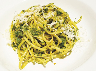 City Palate, guide to the good life in Calgary - quick ways with - 2019-05-06 - Linguine with pistachio, green onion, pesto