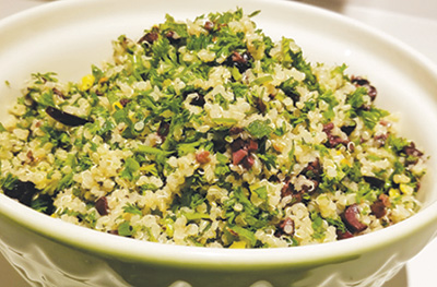 City Palate, guide to the good life in Calgary - quick ways with - 2019-05-06 - Quinoa tabouli with pistachios and kalamata