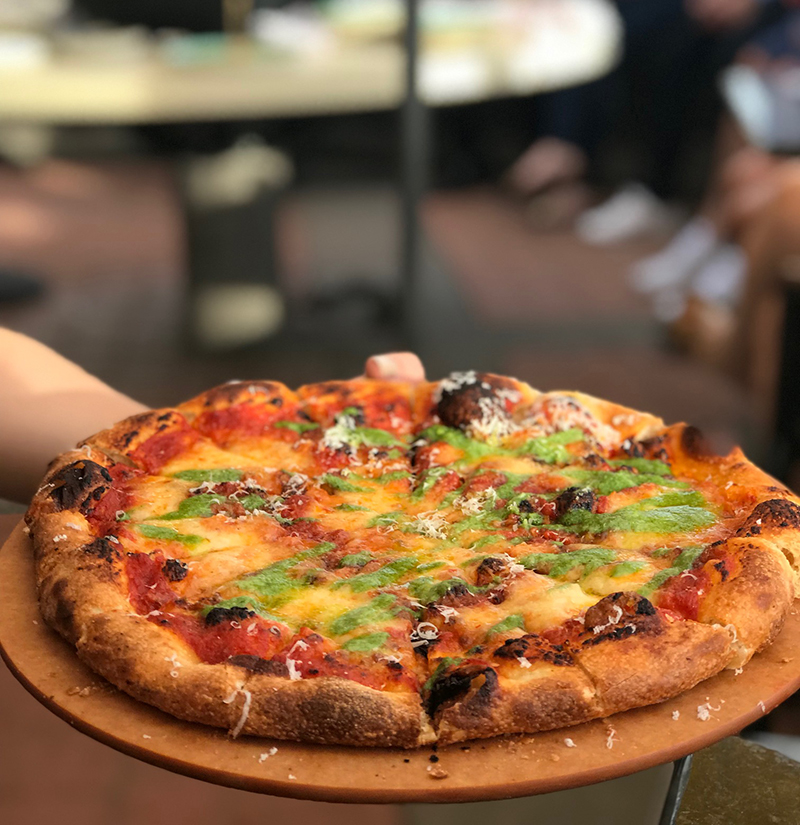 Margherita pizza at Allora restaurant Calgary