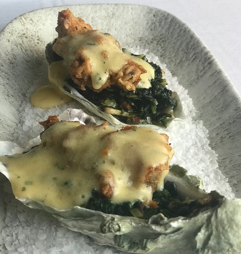 Chicken-fried oysters Rockefeller at Chairman's Steakhouse in Calgary