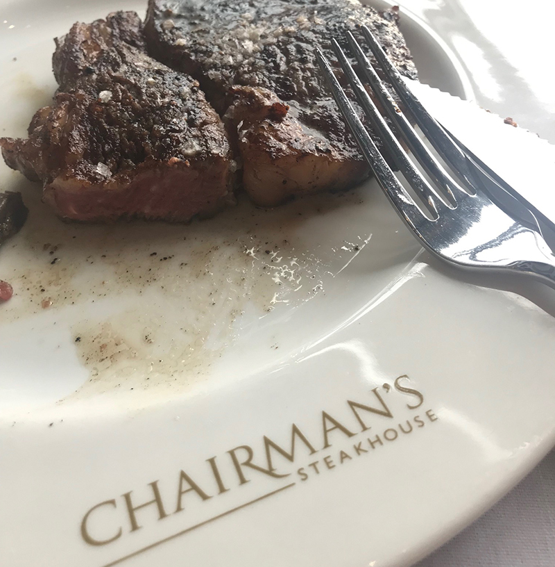 Ribeye at Chairman's Steakhouse restaurant in Calgary