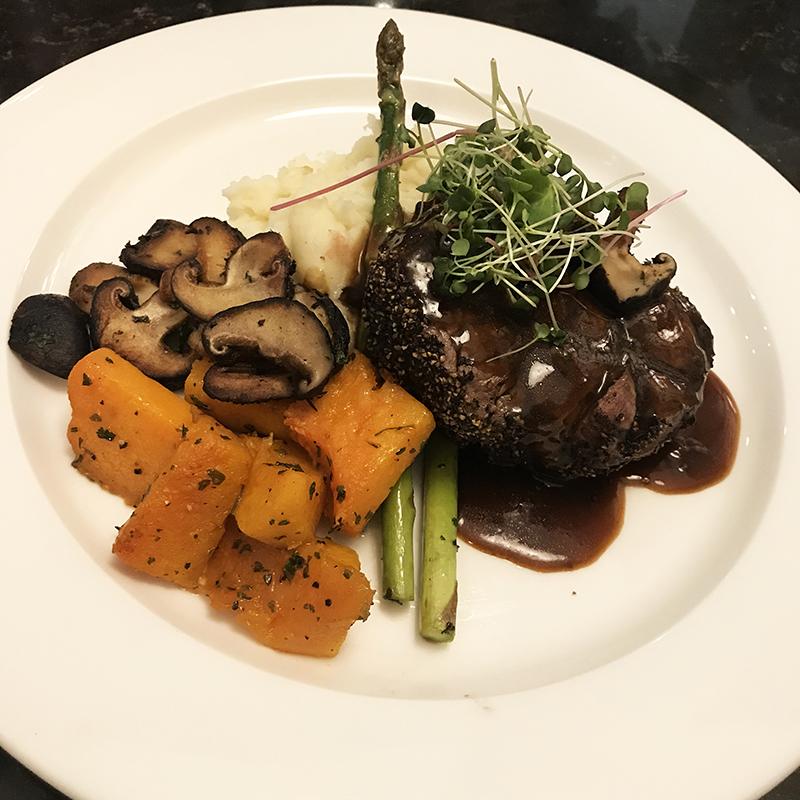 Beef tenderloin at Headquarters restaurant in Calgary