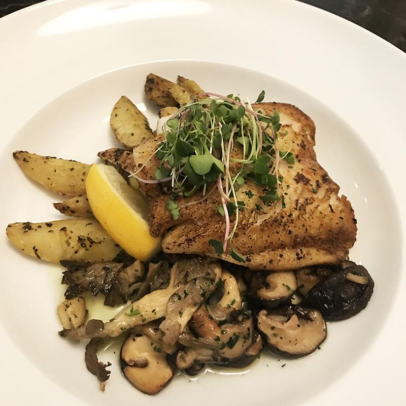 Pan-seared black cod at Headquarters restaurant in Calgary