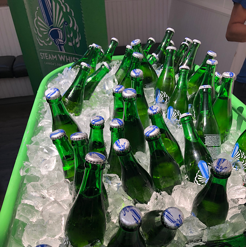 Steamwhistle beer on ices at Alberta Oyster Fest at Rodney's Oyster Shack