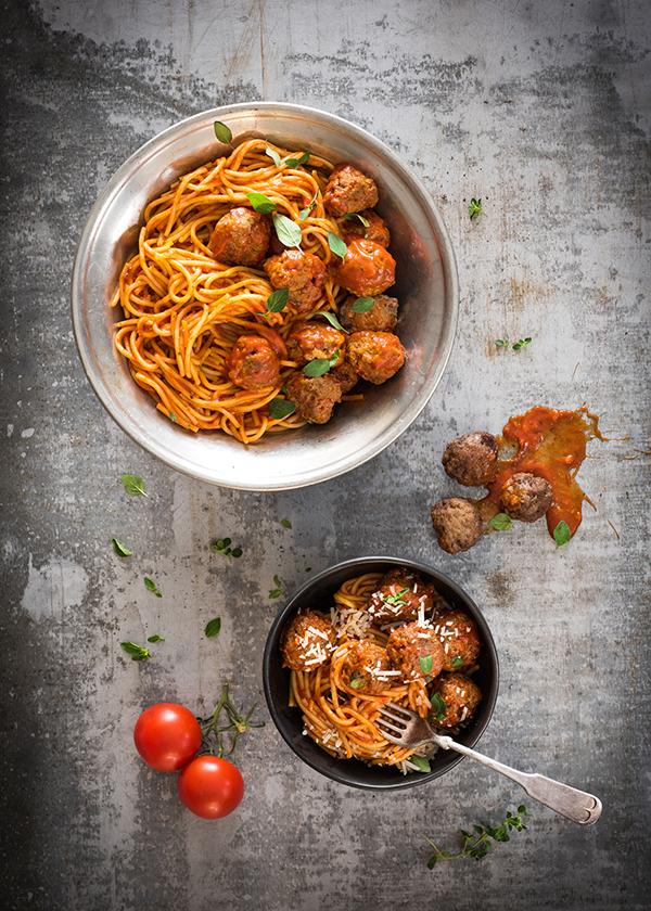 Calgary food magazine spaghetti and meatballs by food photographer Sandy Weatherall