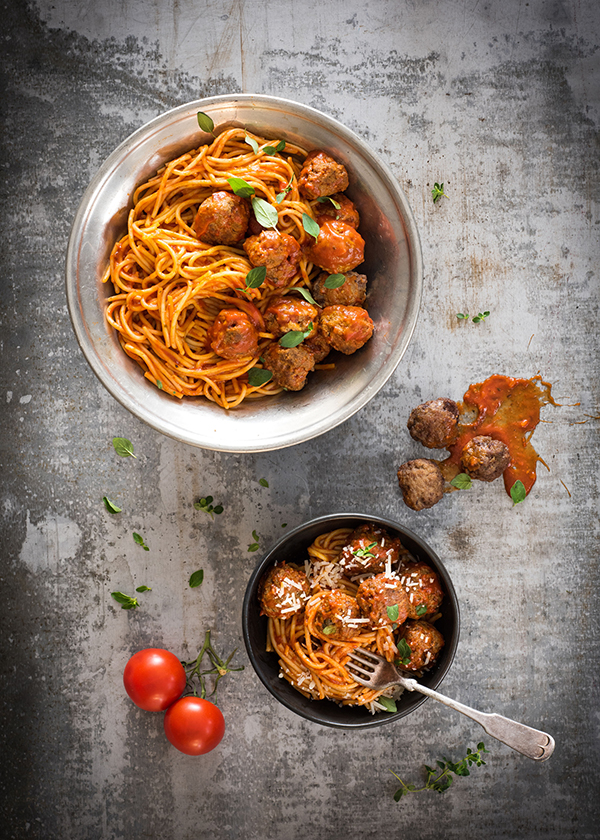 Calgary food magazine spaghetti and meatballs by food photographer Sandy Weatherall