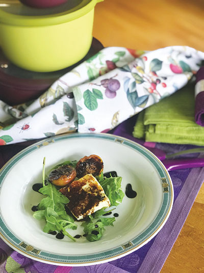 Charred Fortune Plums and Halloumi with Black Pepper Balsamic Drizzle
