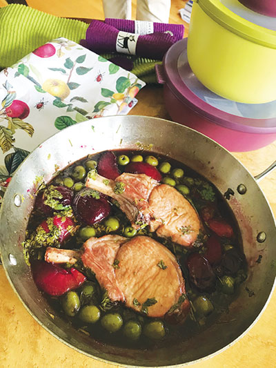 Pork Chop Braised with Black Plums and Green Olives