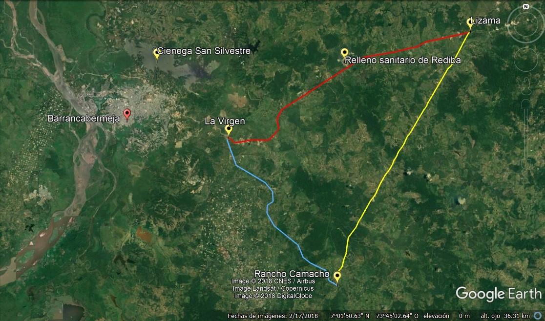 Propuesta de Ciclorruta la Virgen - Lizama – Rancho Camacho Google Earth (fuente propia)