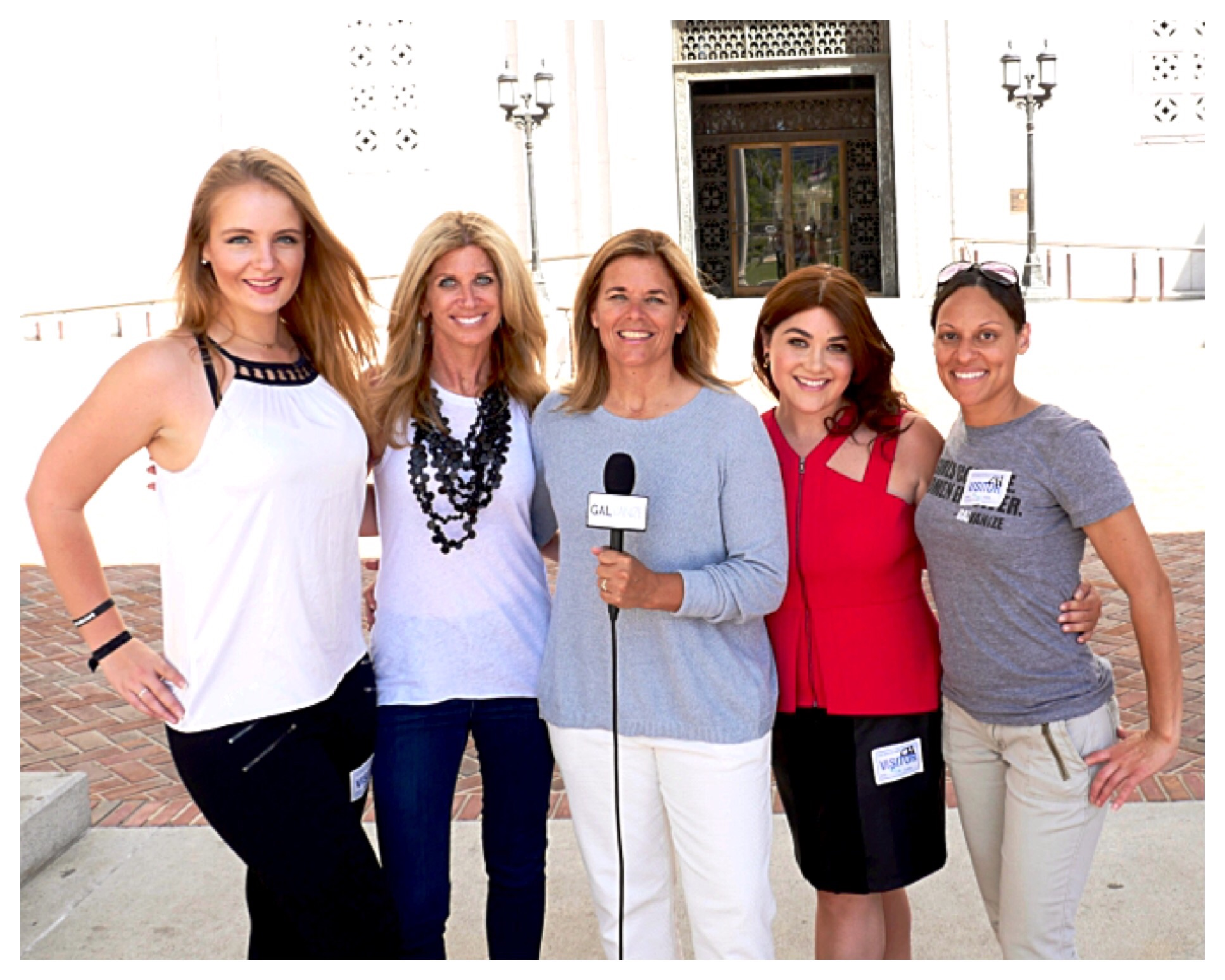 Fox Sports NFL sideline reporter, Laura Okmin, to the left, teaching us how to GALvanize in Los Angeles!